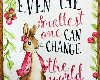 Peter Rabbit Watercolour with Quote