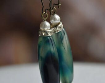 Blue agate, mother of Pearl and rhinestone earrings
