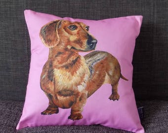 Dachshund on Pink Background Cushion Cover