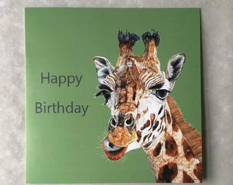 Painted Giraffe Birthday Greetings Card