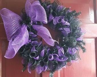 Spider Halloween Wreath, Deco Mesh Halloween Wreath, Halloween Decor, Halloween Decoration, Fall Wreath, Front Door Wreath, Halloween Mesh,