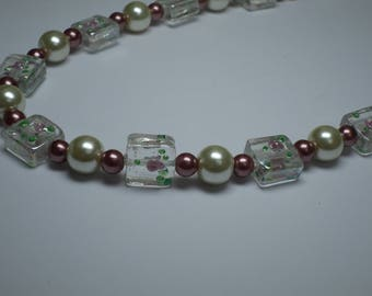 square pale pink glass and pearl necklace