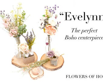 Floral Bouquet artificial flowers and vases, wooden log centre piece ideal for weddings, parties