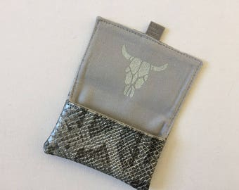 Python college card case, canteen, transport, credit, gray and silver leatherette