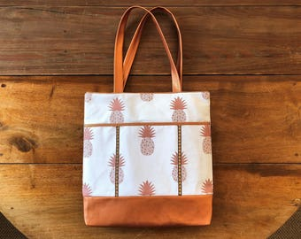 Bag, tote bag, Tote, fabric faux leather, shoulder, large and pineapple