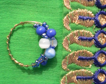 Ring blue and White Pearl