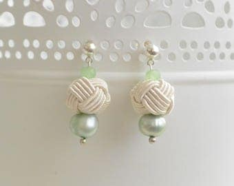 Penn skoulm * earrings Green/White Pearl