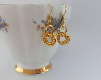 Handmade Brass Chainmail Earrings