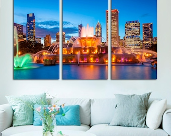 Buckingham fountain Photography Print Wall Decor Chicago buildings - Home Decor Multi panel canvas - night lights skyline City photography