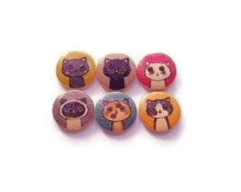 Buttons 15mm wooden cats