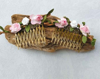 "Beautiful ""Little Roses"" on Bronze Metal Hair Combs"