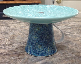Mint Paisley Cake Stand