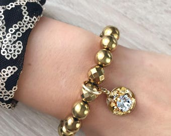 Golden bracelet with Hematite and Swarovski crystals