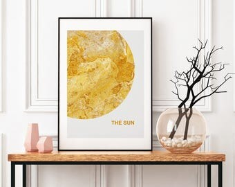 celestial sun art space art posters sun nursery print house warming present