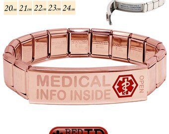 """Pre Etched """"Medical Info Inside"""" Rose Gold Steel Medical Alert SOS ID Stretch Bracelet 200 Characters on two Waterproof Labels By REDMEDID"""
