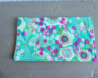 Green and pink floral cotton checkbook cover