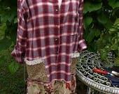 HOLD FOR Cynthia - Ready for Fall Artfully Altered Dress  Mori Bohemian Rustic Gypsy Gal
