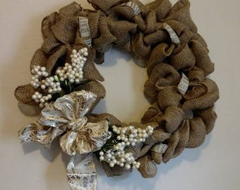 Burlap Wreath with White accents
