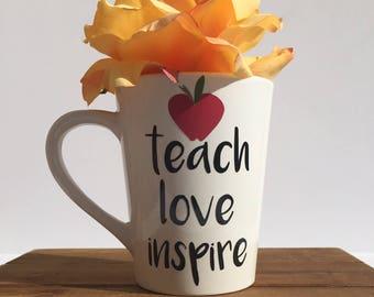 teachers coffee mug, teach love inspire teacher mug, teacher gift, personalized teacher mug, teacher mug, teacher appreciation