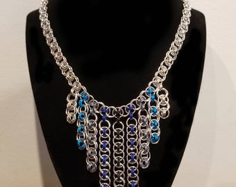 Silver and Blue Helm Dangle Necklace