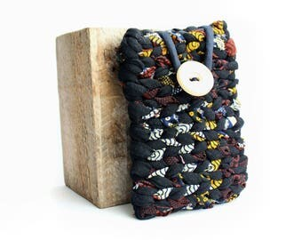 Eco-designed black/yellow/red fabric Pocket