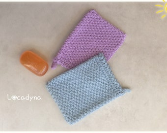 Many Glacier Lilac Blue knit Washcloths be bath Onsen Spa-Bath and shower gift, housewarming party-Hand Made Wash Cloth