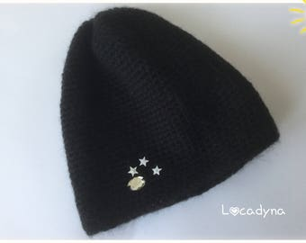 Black beanie crochet with Rhinestones-Mohair-acrylic-soft and comfortable for woman or young girl-man and Teenager - birthday gift