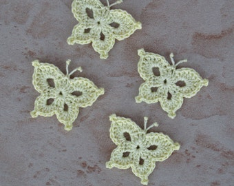 set of 4 yellow butterflies light crochet