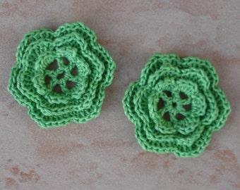 set of 2 green crochet 6 triple petal flowers