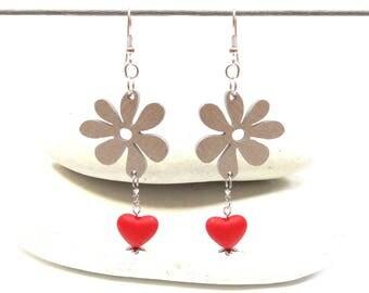 Long colorful earrings wood exotic flower heart