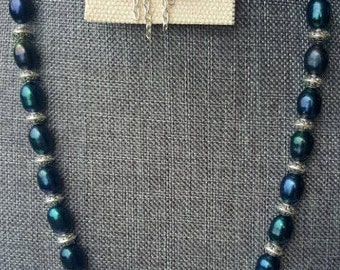 Black Pearl & Silver Necklace with earrings