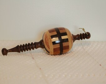 A - ORN103 - Hand Turned, Quality, Multiple Wood, Segmented Christmas Ornament