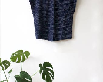 Vintage Navy Blue Polka Dot Blouse // Dotted Sleeveless Top // Short Sleeved Button Up Shirt // Collared Blouse // Made in UK // 38 Medium