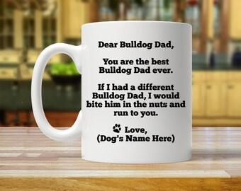 bulldog dad, bulldog gift, bulldog gift for him, personalized bulldog gift, custom bulldog gift, bulldog mug, funny bulldog gift