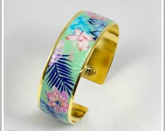 2 cm gold plated 24 k Fleuri Simona green Cuff Bracelet