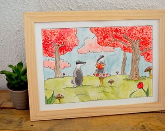 """""""Hector and Felicien Badgers"""" watercolor illustration - kids room Decoration"""