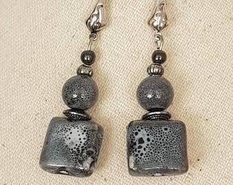 Earrings hook silver metal beads ceramic and silver metal
