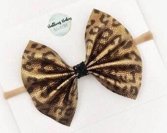 Cheetah Bow, Leopard Print Bow, Faux Leather Hair Bow, Baby Girl Bow, Cheetah Headband, Cheetah Baby Bow, READY TO SHIP