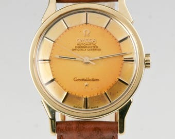 Vintage Omega Men's Pie-Pan Constellation Gold Cap Caliber 551 Automatic Watch Amazing Patina