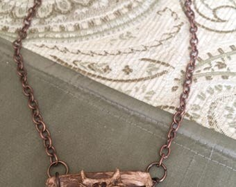 Necklace: Copper Chain With Swirl Owl Pendant Woodland Collection Halloween