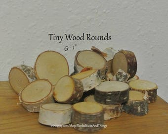 25 Mini Wood Slices, Wood Rounds, Rustic Crafts, Miniature Wood Slices