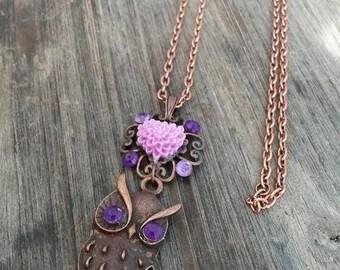 """unique copper necklace """"Royal OWL"""""""