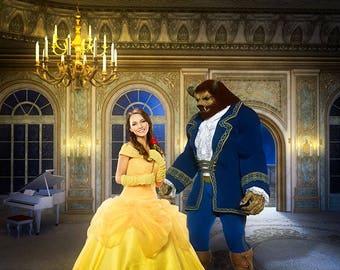 Beauty and the Beast Backdrop, Belle Background, Ballroom Digital Backdrop, Fairy Tale Backdrop, Princess Digital Background, Beast Overlay