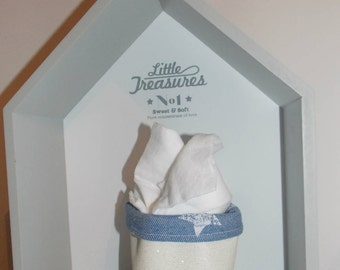 Set of 2 Mini shiny faux basket and denim with stars