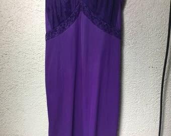 Purple long vintage slip dress size 34