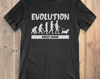Basset Hound Custom Dog T-Shirt Gift: Basset Hound Evolution