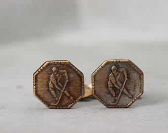 Vintage soviet metal whale back cuff links with Hockey player