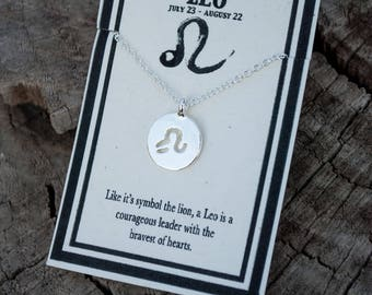 Leo Zodiac Necklace - Lion Necklace - Leo Necklace - Silver Zodiac Charm