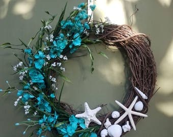 Turquoise blue and white Coastal wreath with Starfish, and Shells