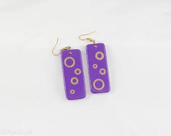 Ultra violet earrings, wooden earrings, hand-painted earrings, wooden earrings, pendant earrings, purple and gold earrings